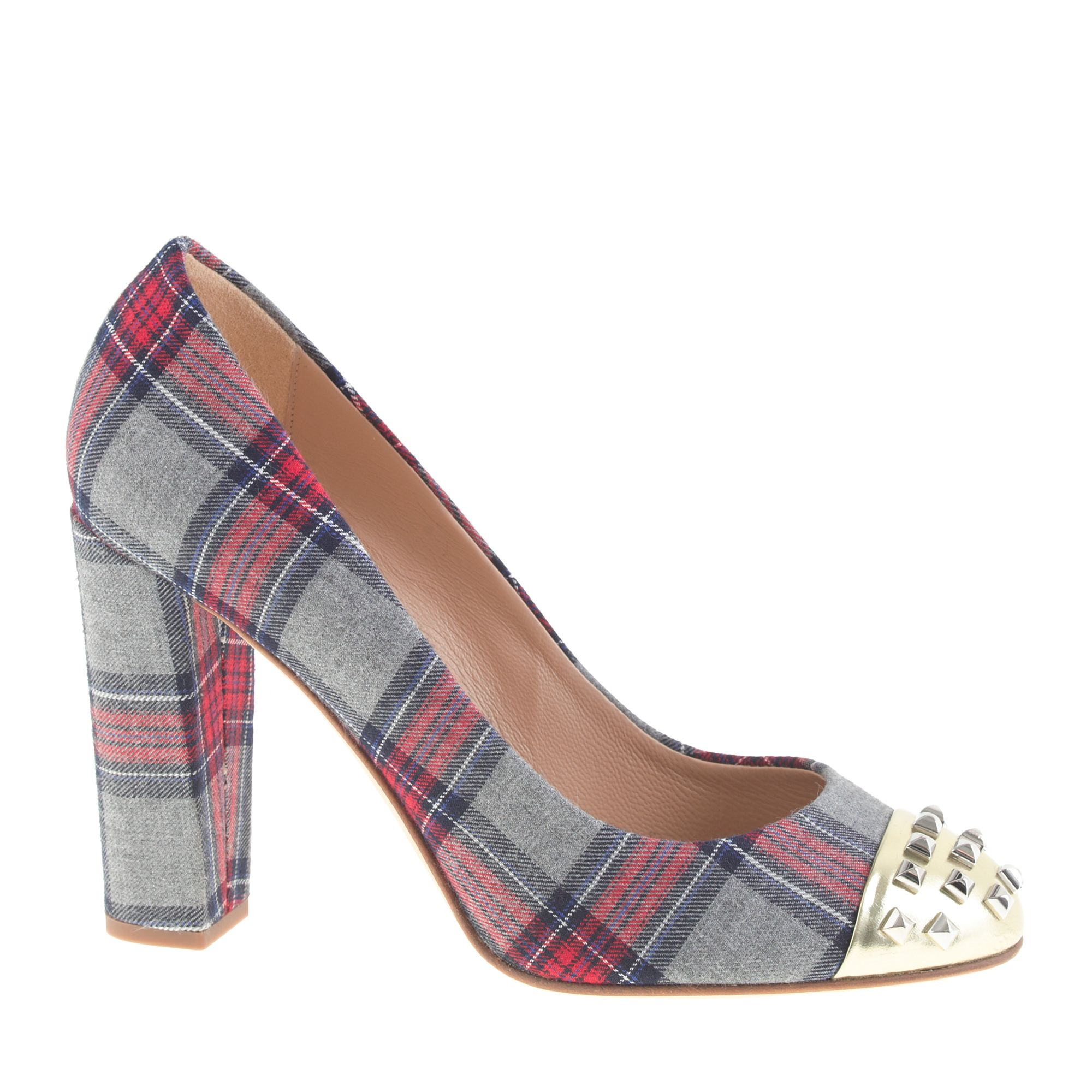 Lyst J Crew Collection Etta Plaid Studded Pumps In Gray