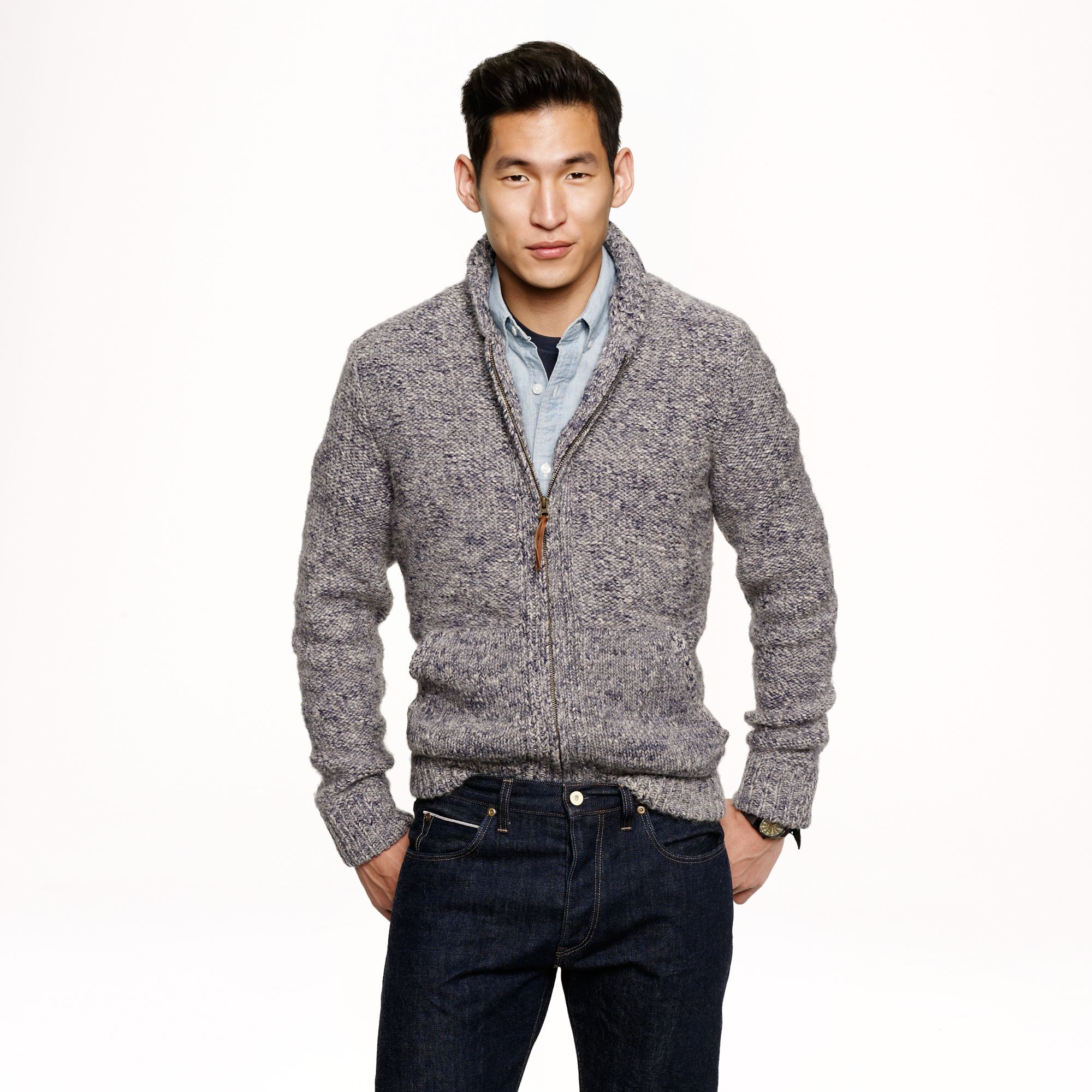 Alpaca fullzip sweater in gray for men marled blue for J crew mens outfits