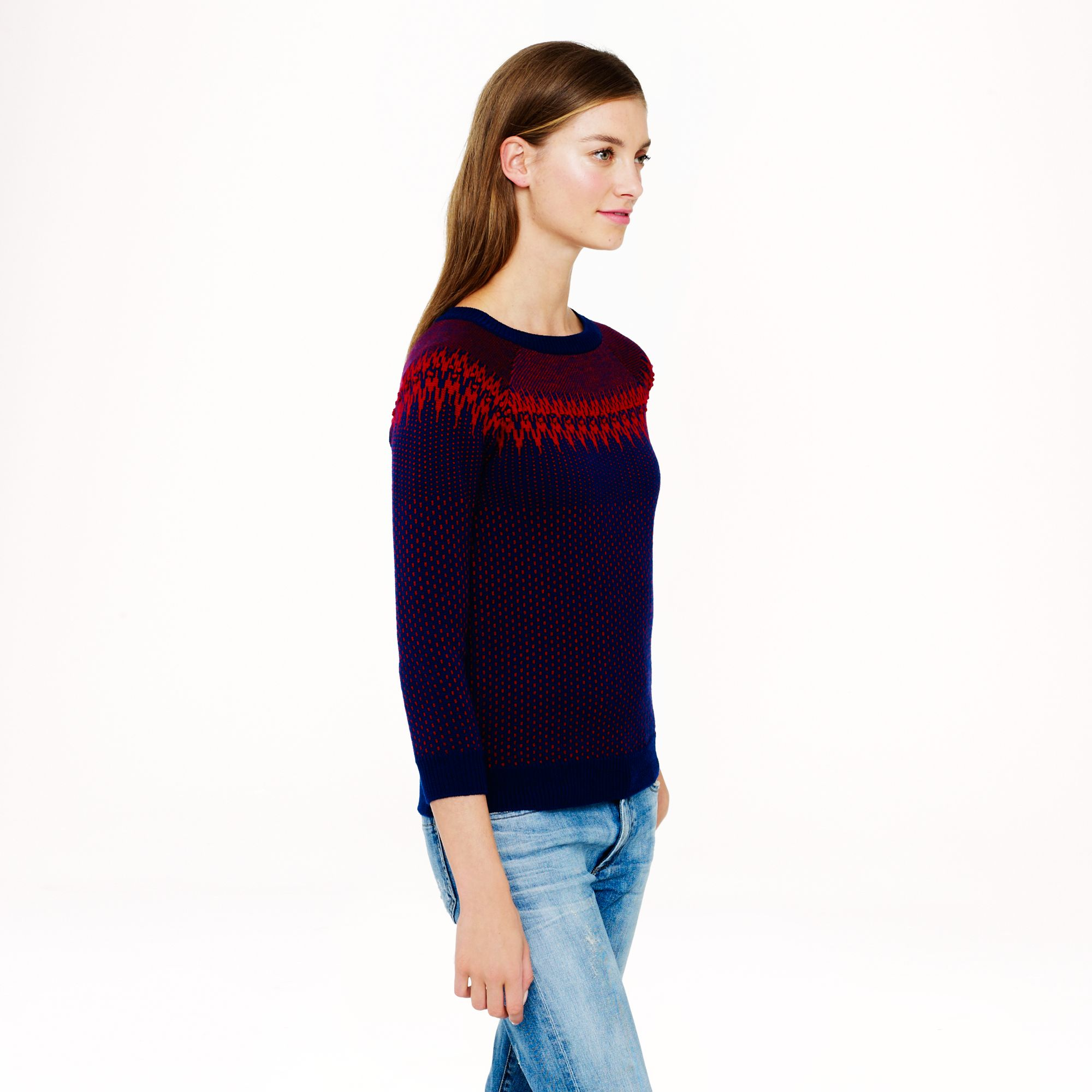 J.crew Merino Fair Isle Sweater in Black | Lyst