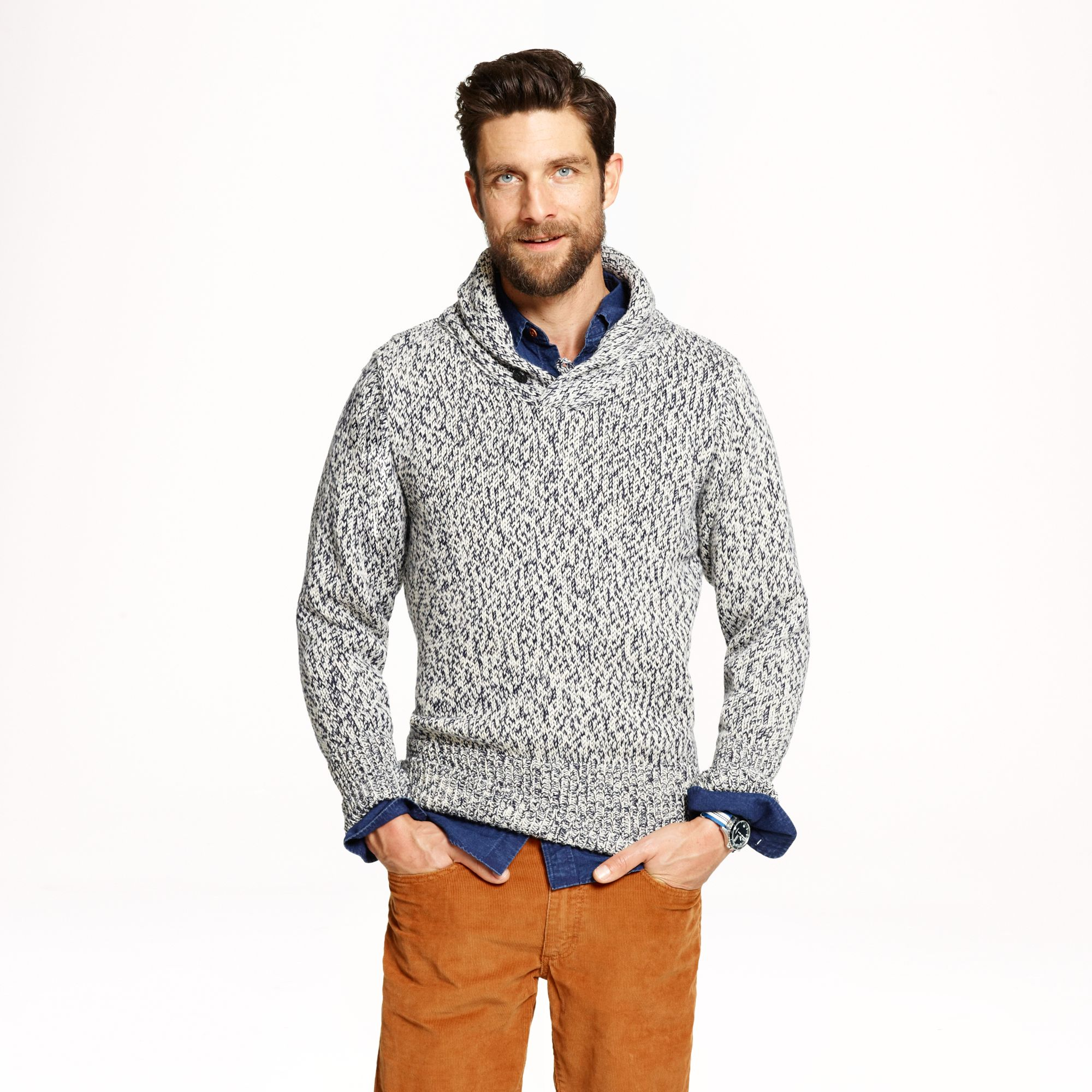 north sea clothing victory shawl sweater in blue ForJ Crew Mens Outfits