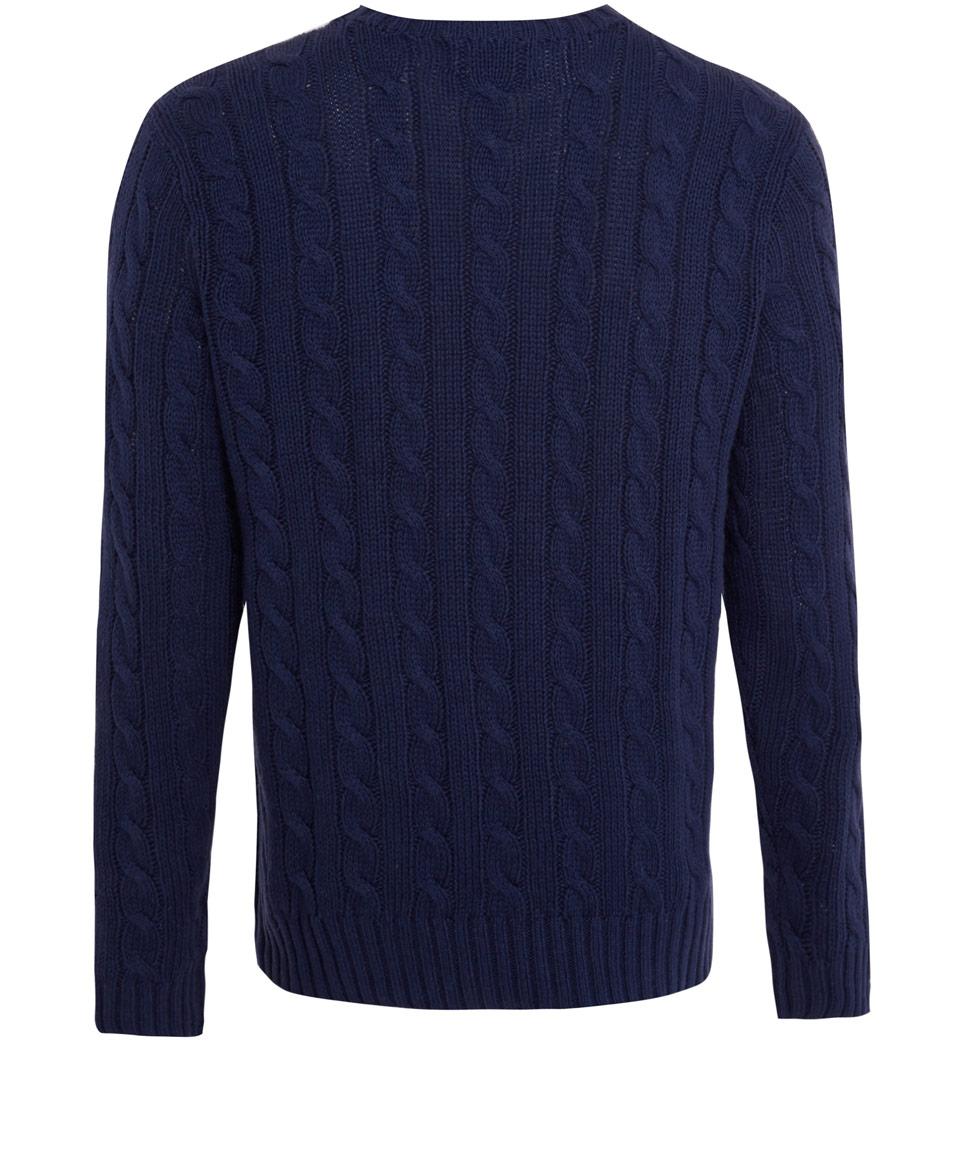 Knitting Jumpers For Elephants Fake : Lyst polo ralph lauren blue silklinen cable knit jumper