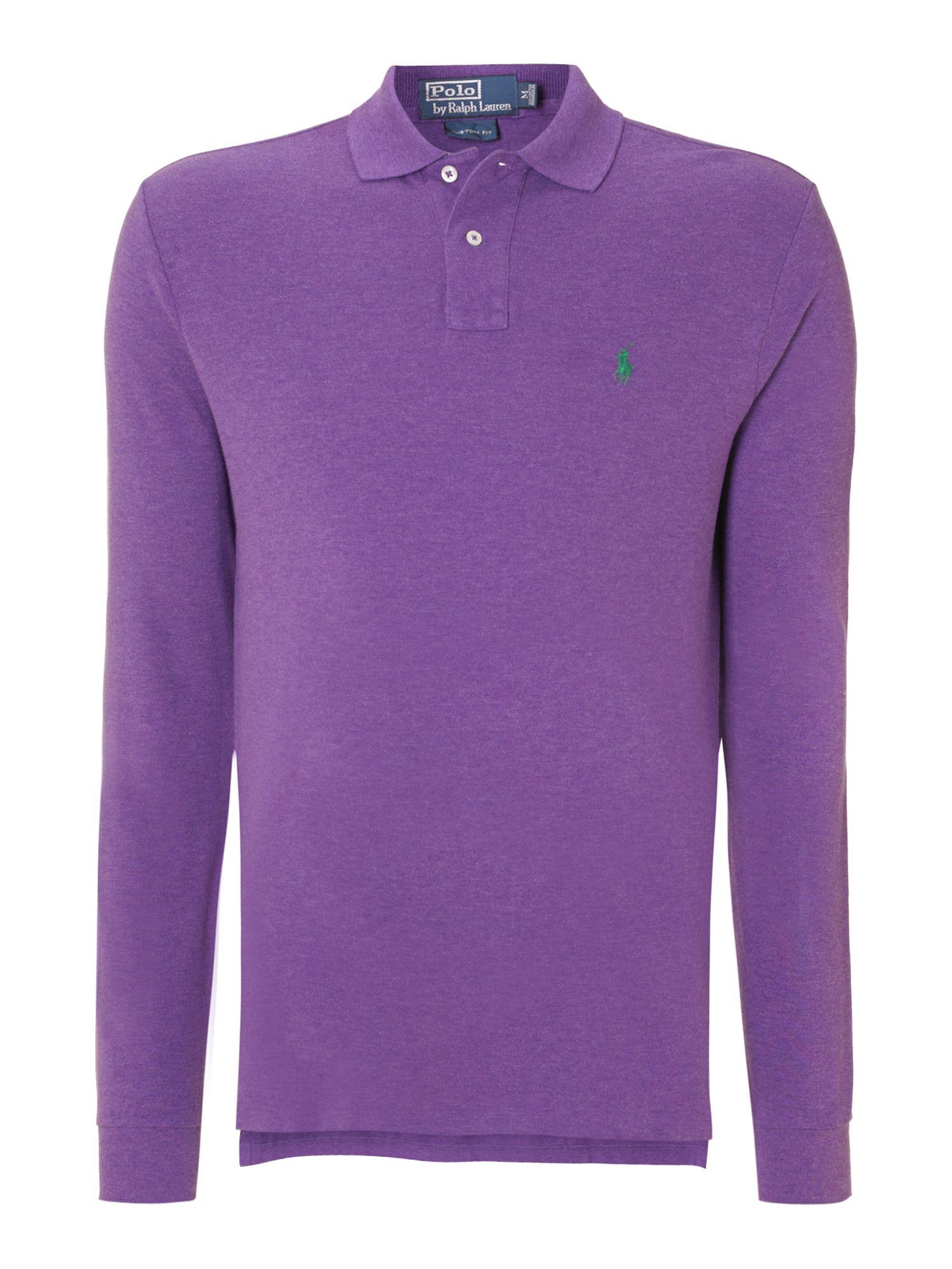 Lyst polo ralph lauren longsleeve polo shirt in purple for Long sleeve purple polo shirt