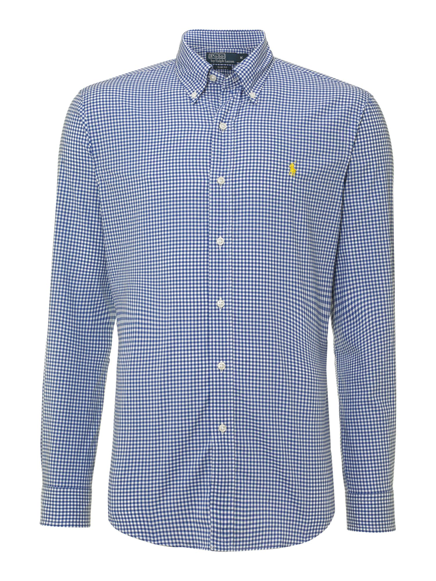 polo ralph lauren slim fit gingham check shirt in blue for men lyst. Black Bedroom Furniture Sets. Home Design Ideas