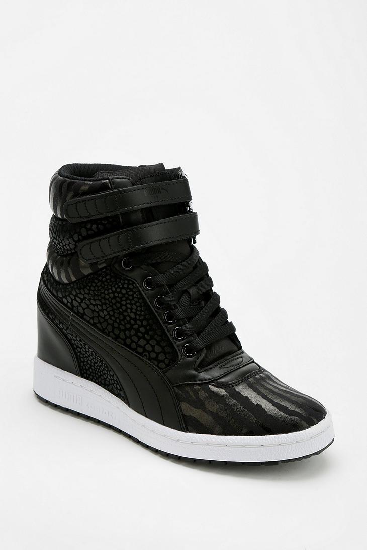 191d1f3b86 Urban Outfitters Puma Sky Wedge Reptile Hightop Sneaker in Black - Lyst