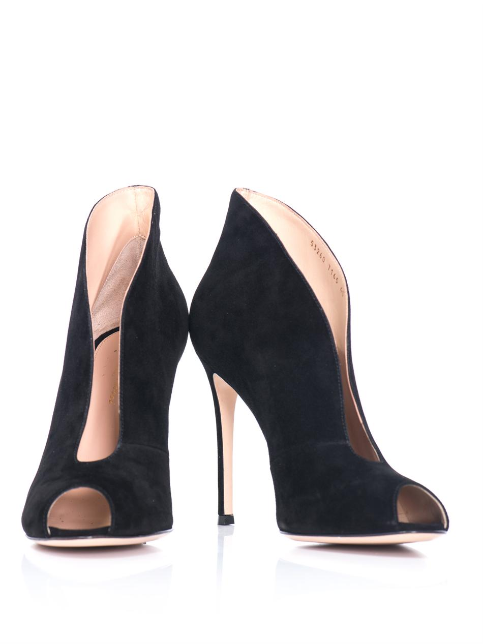 Gianvito rossi Suede Open Toe Ankle Boots in Black | Lyst