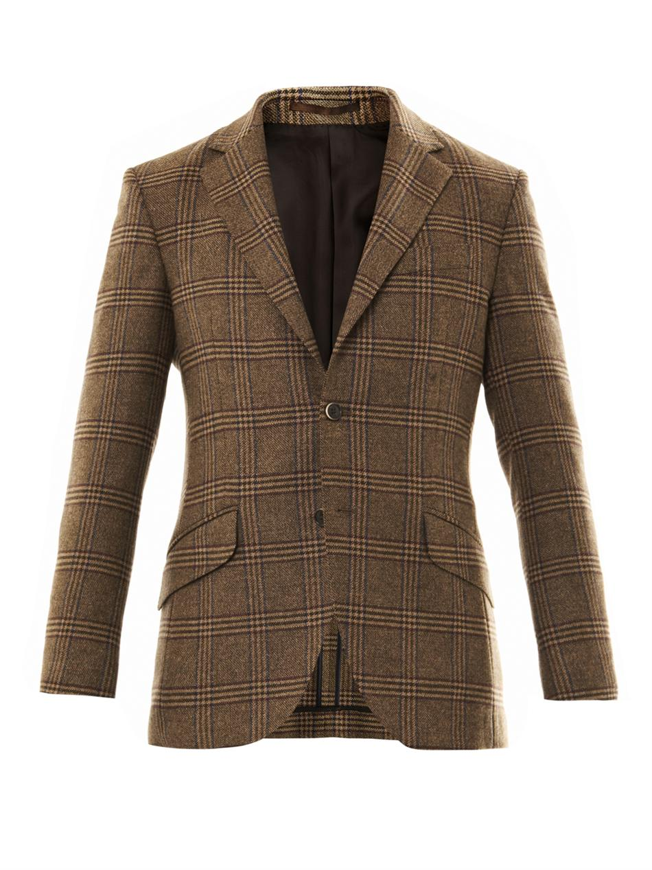 Lyst Hackett Big Check Two Button Blazer In Brown For Men