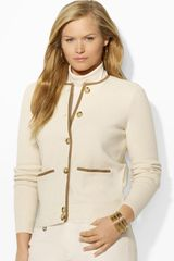 Ralph Lauren  Plus Cotton Cardigan with Faux Suede Trim - Lyst
