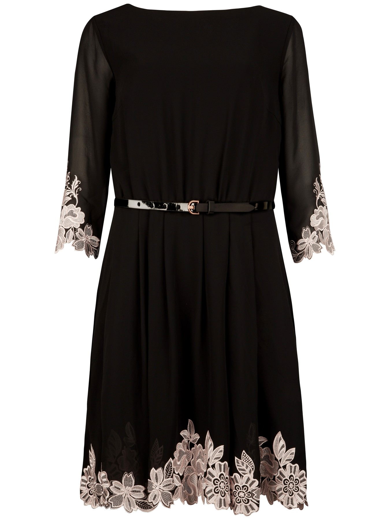 Ted baker heavy lace embroidered dress in black lyst