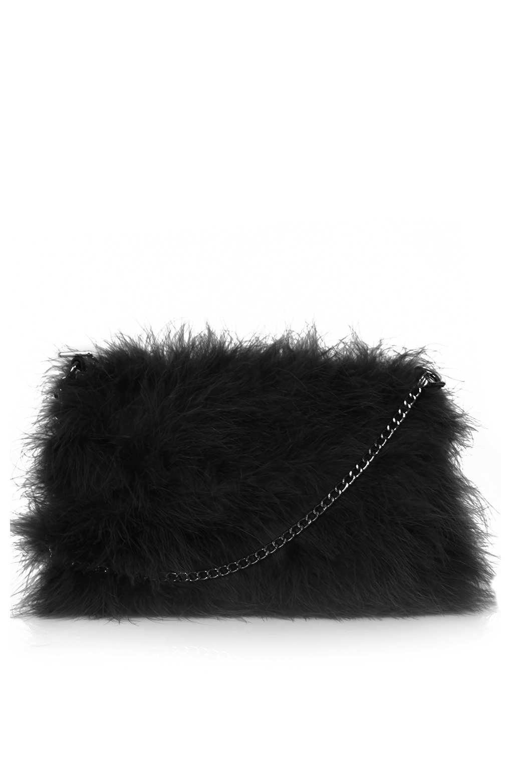 Topshop Marabou Feather Bag In Black Lyst