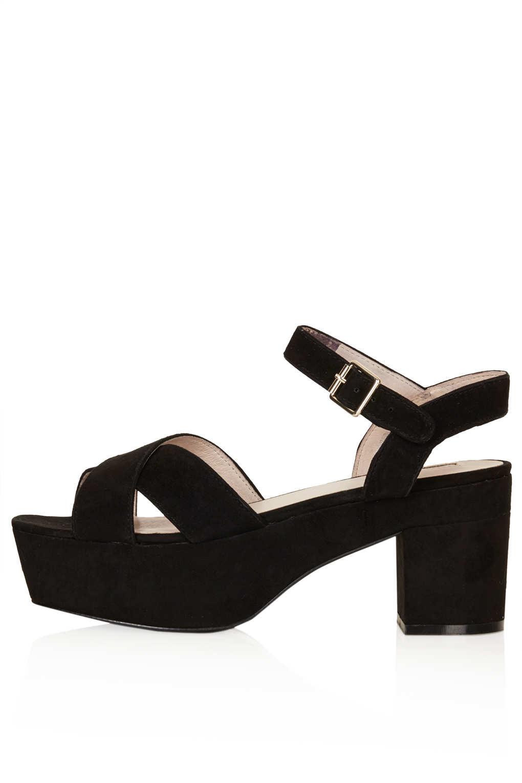 TOPSHOP Nova Suede Platform Sandals in Black - Lyst