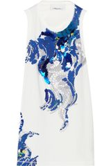 3.1 Phillip Lim Embellished Printed Cotton and Silkchiffon Tank - Lyst