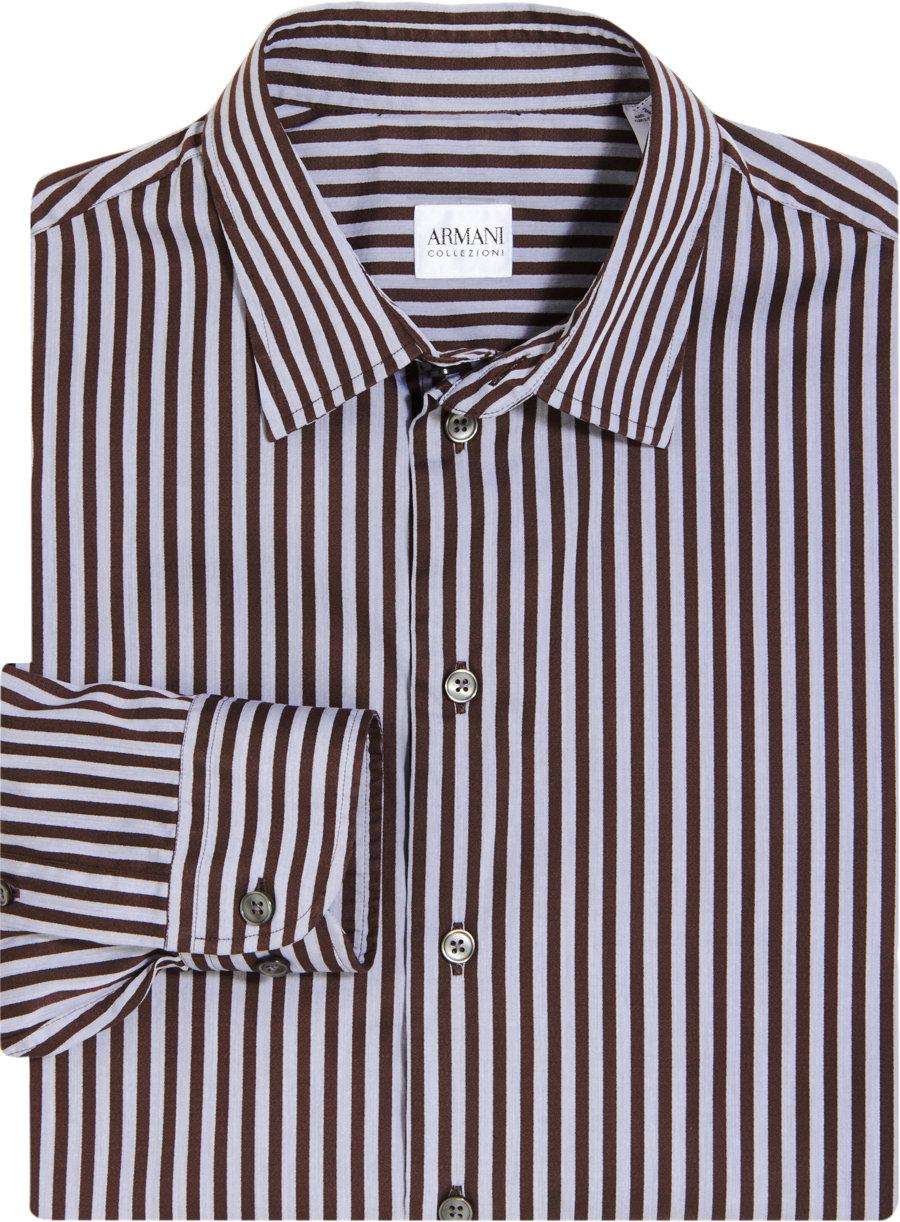 armani bengal stripe dress shirt in brown for men lyst