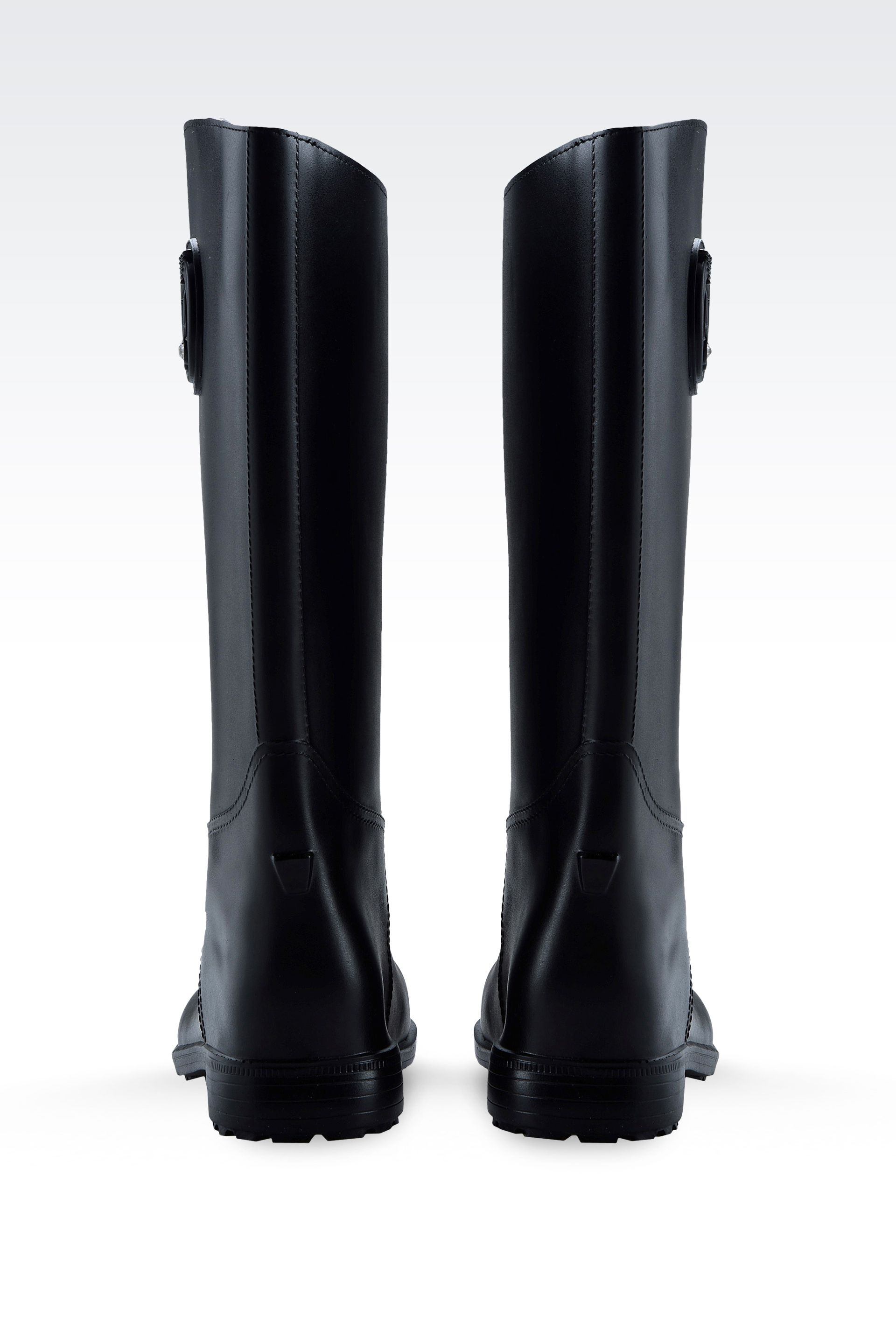 Armani jeans Rubber Rain Boots with Logo and Swarovsky Detail in ...