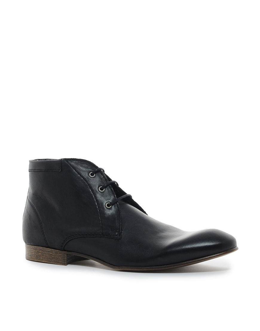 asos chukka boots in leather in black for lyst