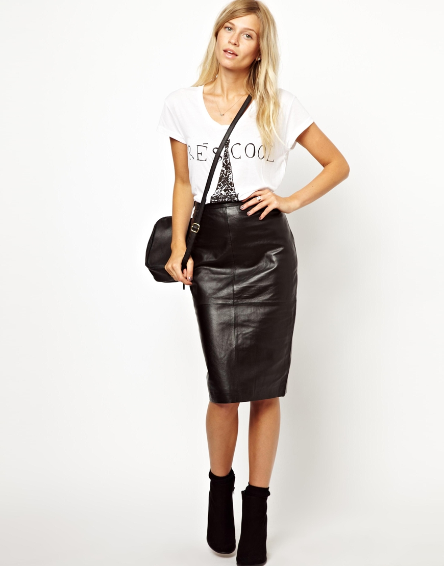Asos Oasis Leather High Waisted Pencil Skirt in Black | Lyst