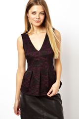 Asos Seamed Peplum Top in Bonded Lace - Lyst