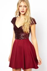 Asos Sequin Top Skater Dress - Lyst