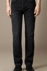 Burberry Steadman Sanded Black Slim Fit Jeans - Lyst