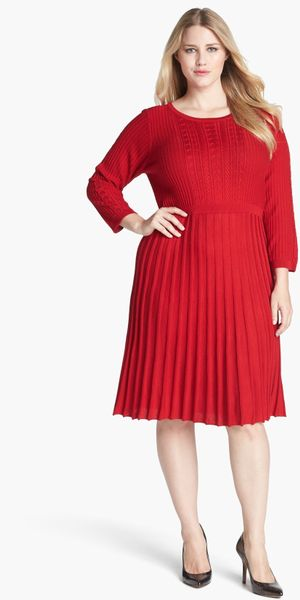 Calvin Klein Fit Flare Sweater Dress In Red Lyst