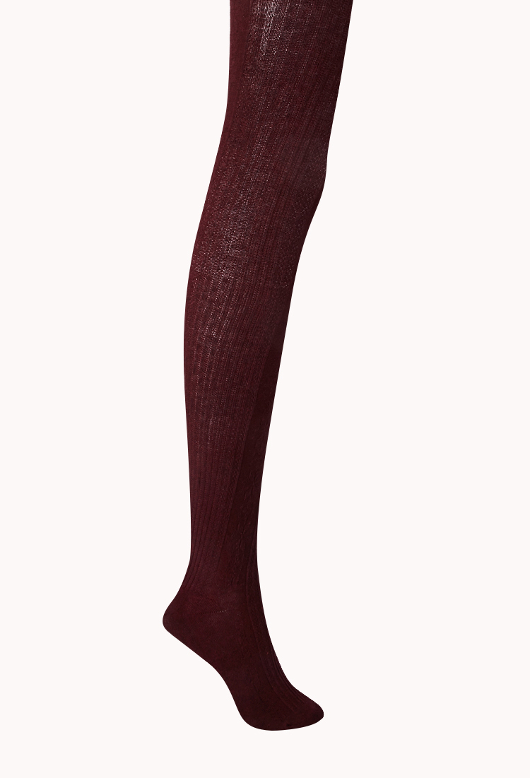 Forever 21 Classic Ribbed Sweater Tights in Purple | Lyst
