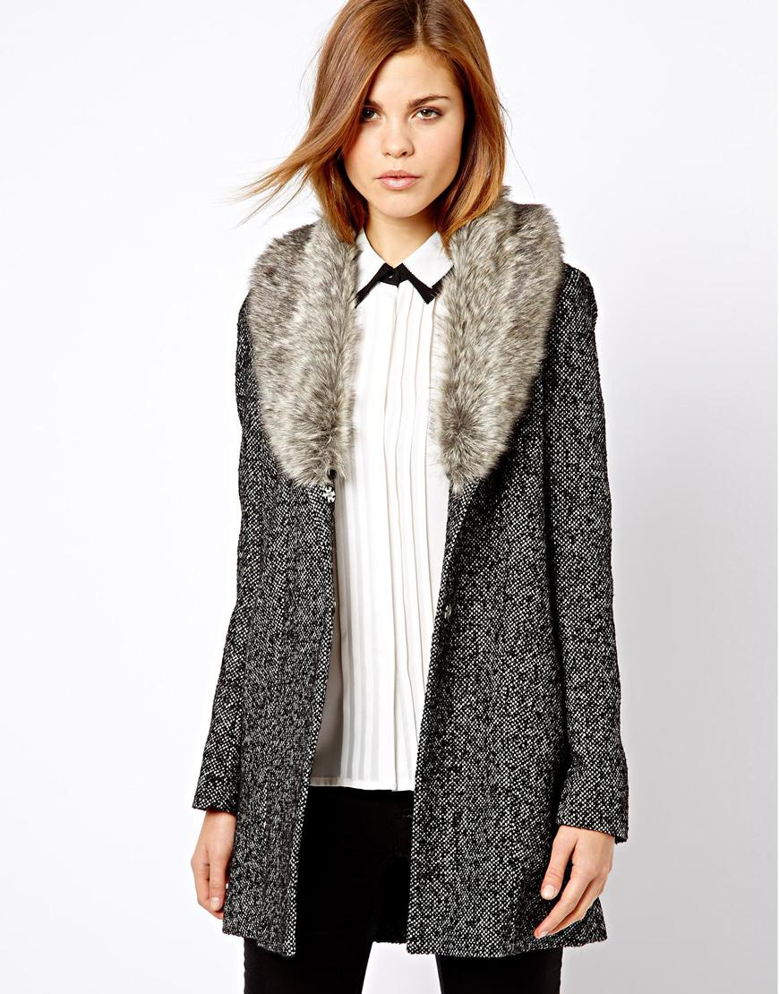 G-star raw Warehouse Tweed Faux Fur Collar Coat in Gray | Lyst
