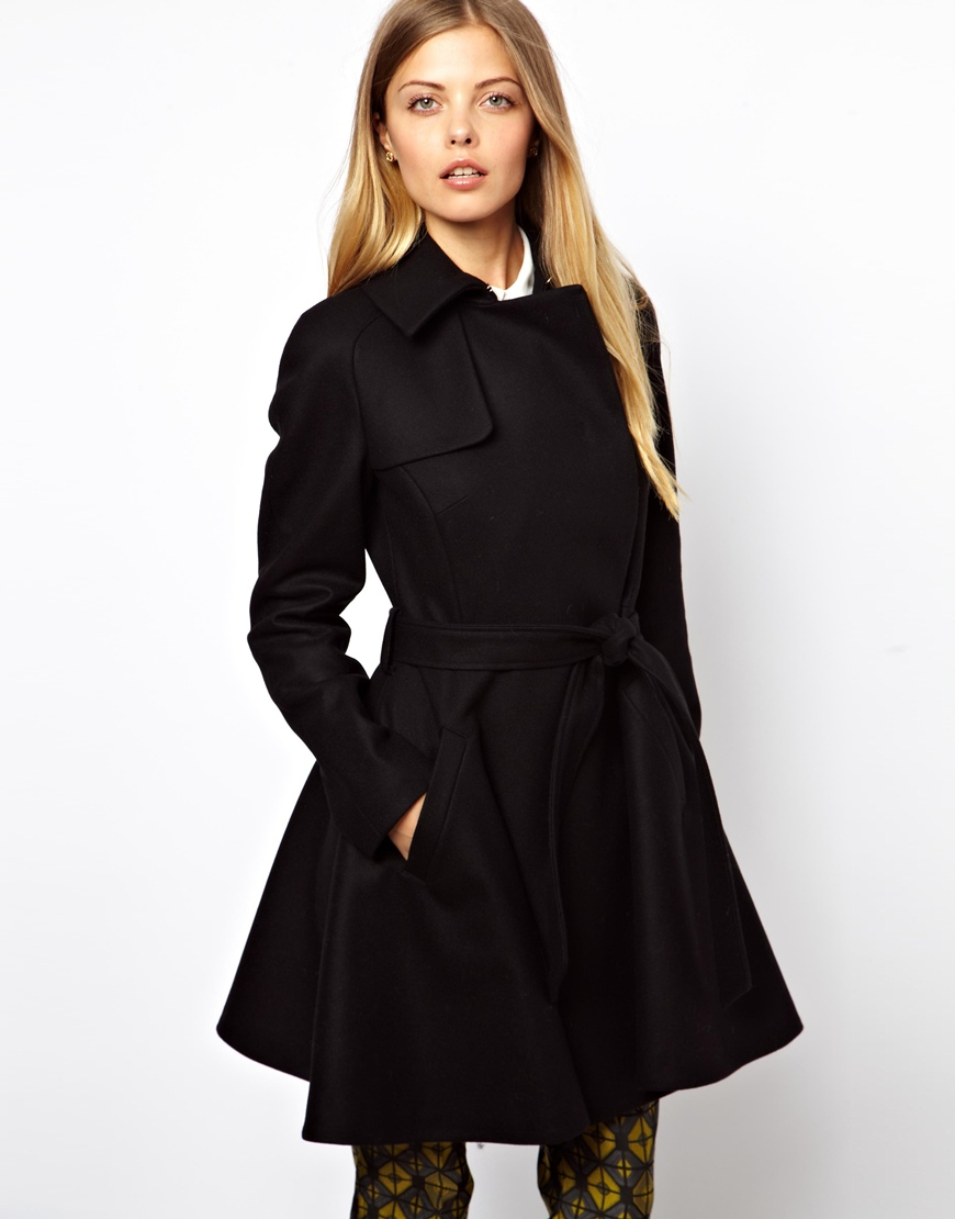Glamorous Ted Baker Wool Trench Coat with Belt in Black | Lyst