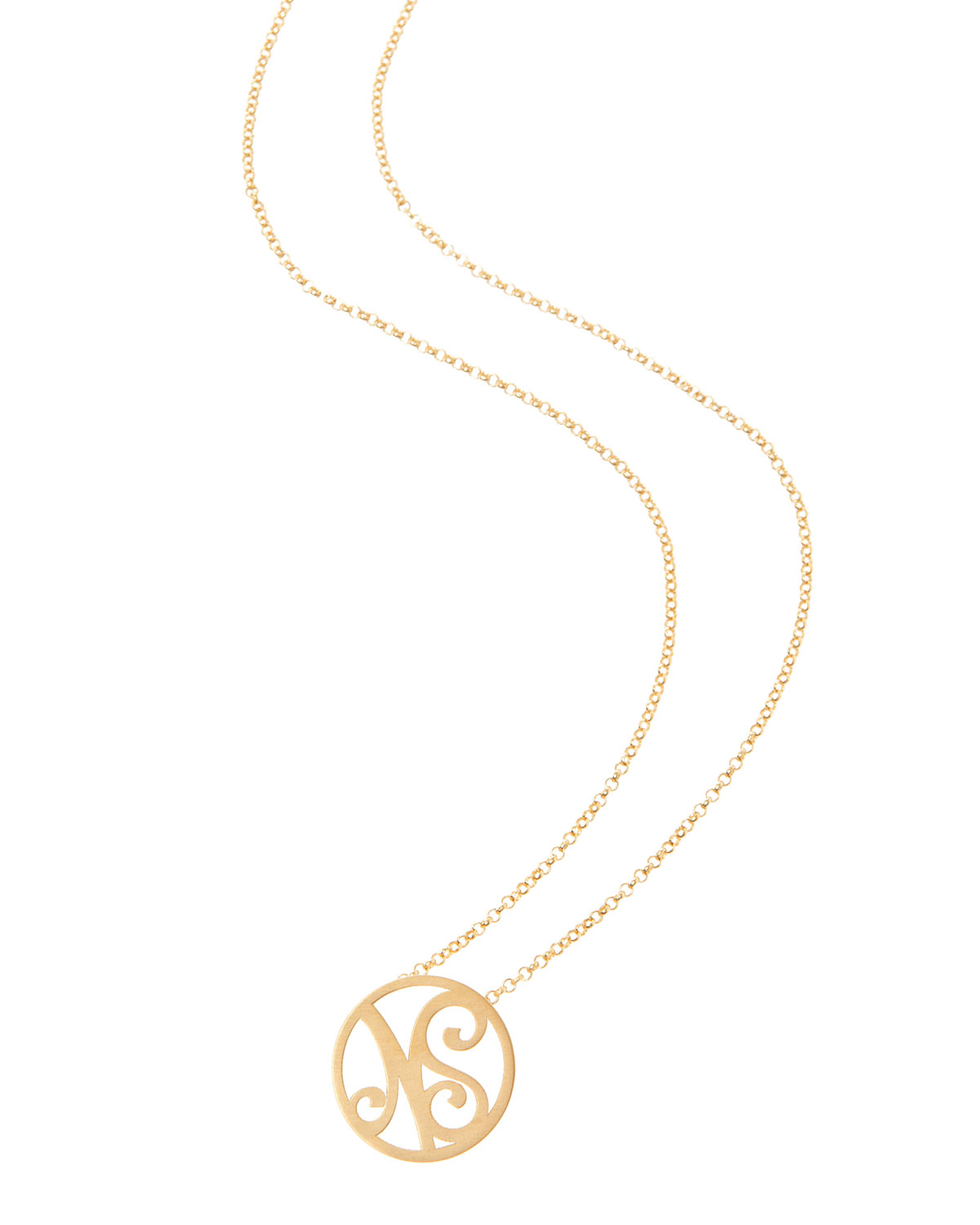 K Kane Small 2-Initial Monogram Necklace, Yellow Gold, 18