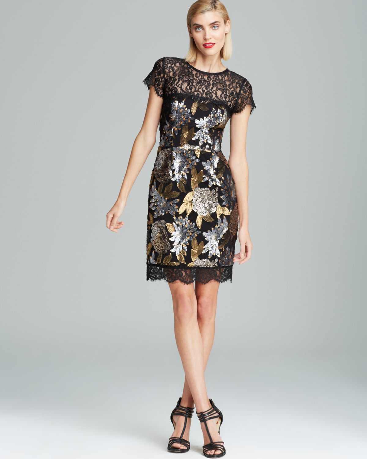 Nicole miller Lace Neckline Metallic Floral Sequin Dress Cap ...