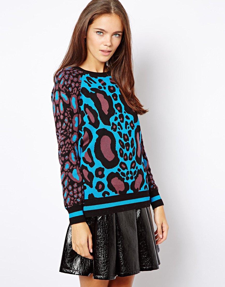 Onitsuka tiger Leopard Print Sweater in Purple | Lyst