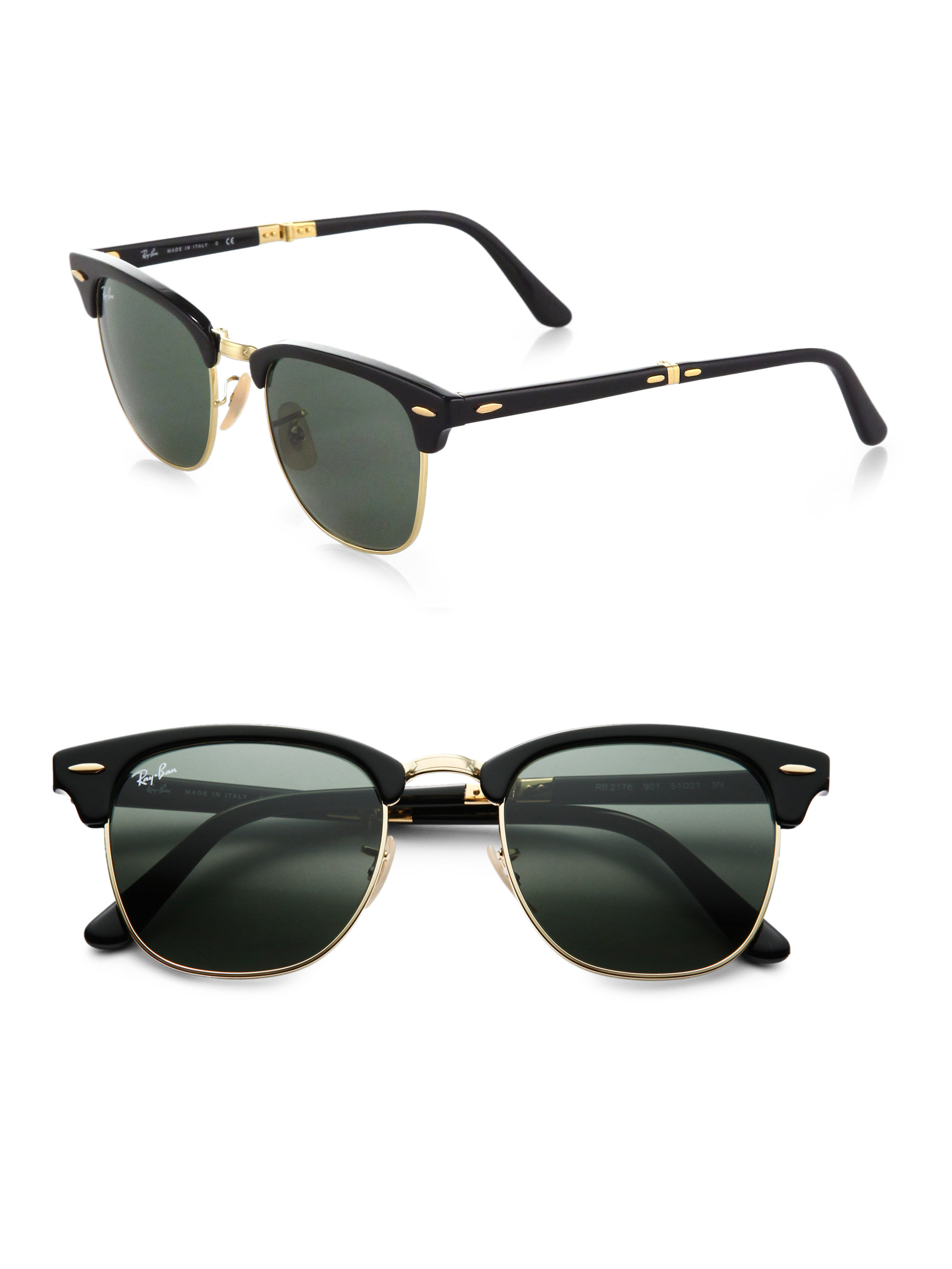 b5b6f55de3 Ray-Ban Folding Clubmaster Sunglasses in Black - Lyst