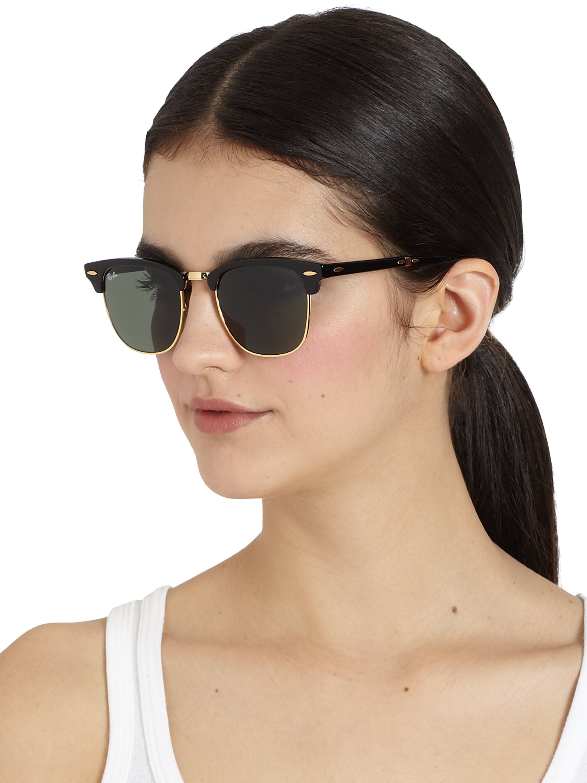 b36869eef22e9 Lyst - Ray-Ban Folding Clubmaster Sunglasses in Black