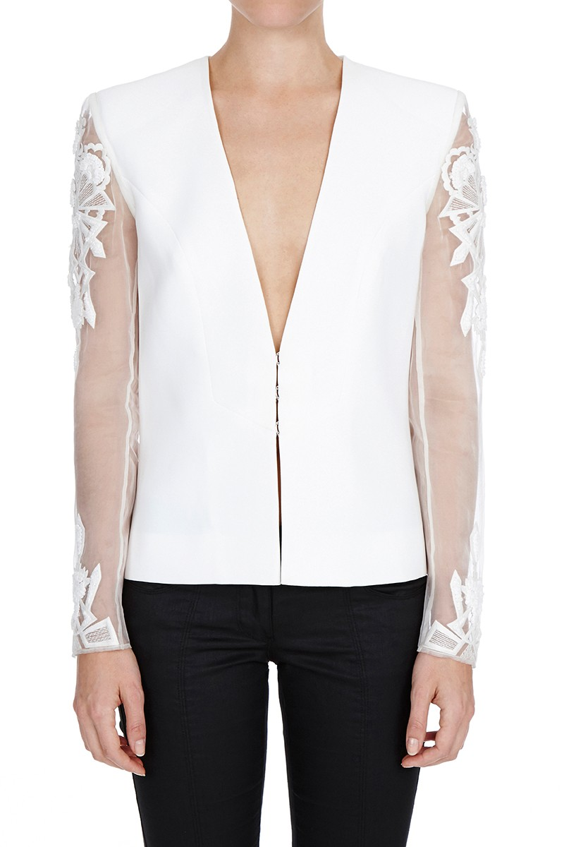 sass bide embroidered jacket in white lyst gallery