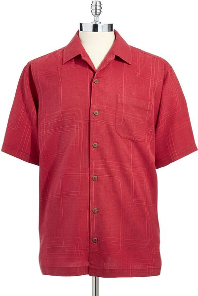 Tommy Bahama Silk Button Down Shirt In Red For Men Lyst