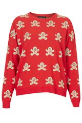 Topshop Knitted Gingerbread Man Jumper - Lyst