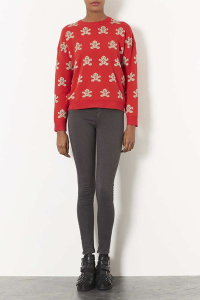 Gingerbread Man Jumper Knitting Pattern : Topshop Knitted Gingerbread Man Jumper in Red Lyst
