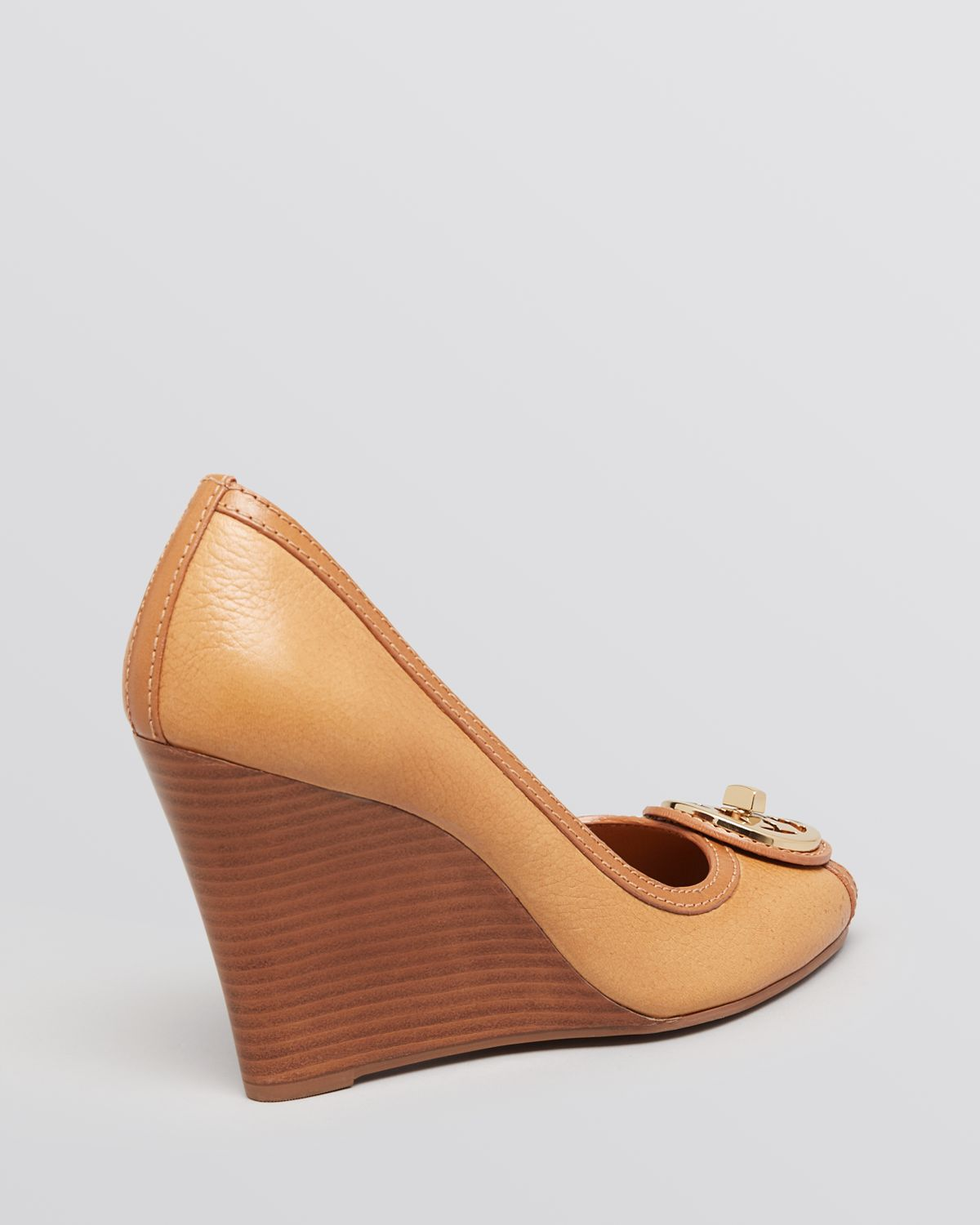 Tory Burch Logo-Medallion Peep-Toe Wedges outlet cheap online y7OBqDB