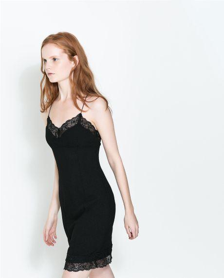 Zara Lingerie Style Dress With Spaghetti Straps In Black
