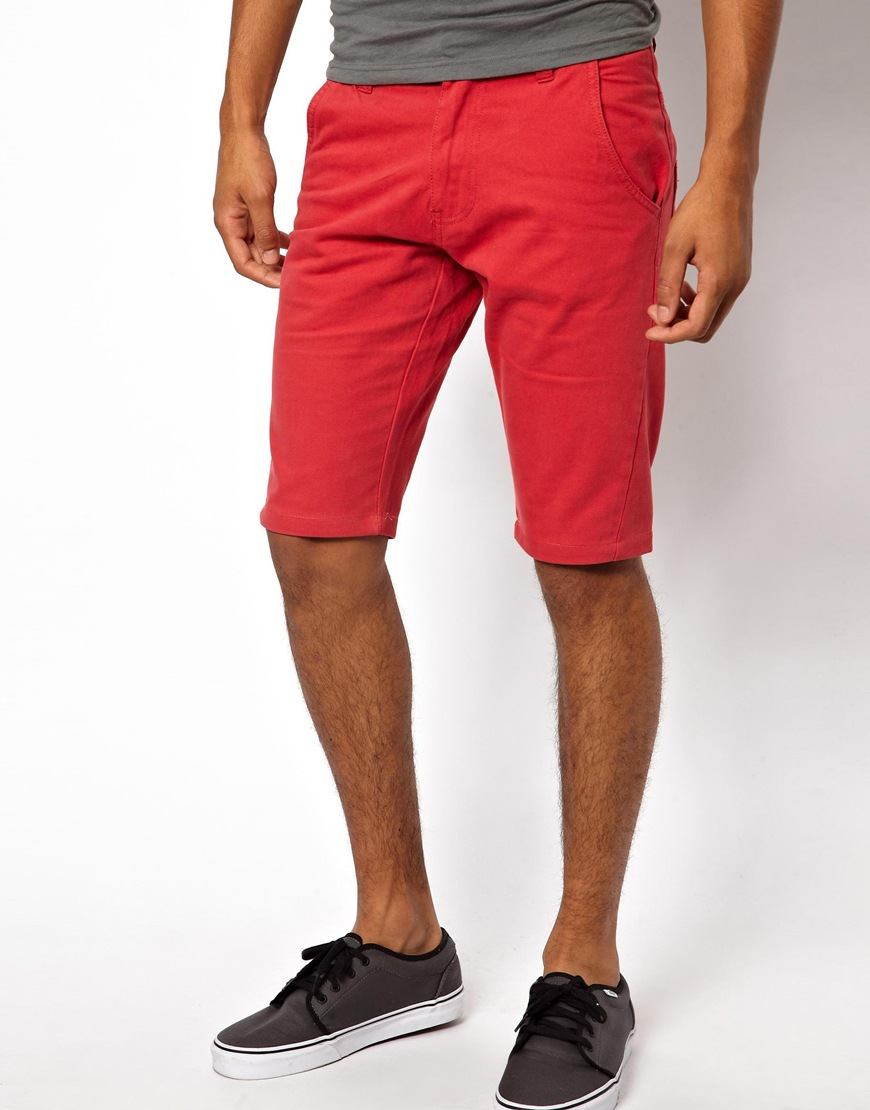 Asos Bellfield Twisted Chino Short in Red for Men | Lyst