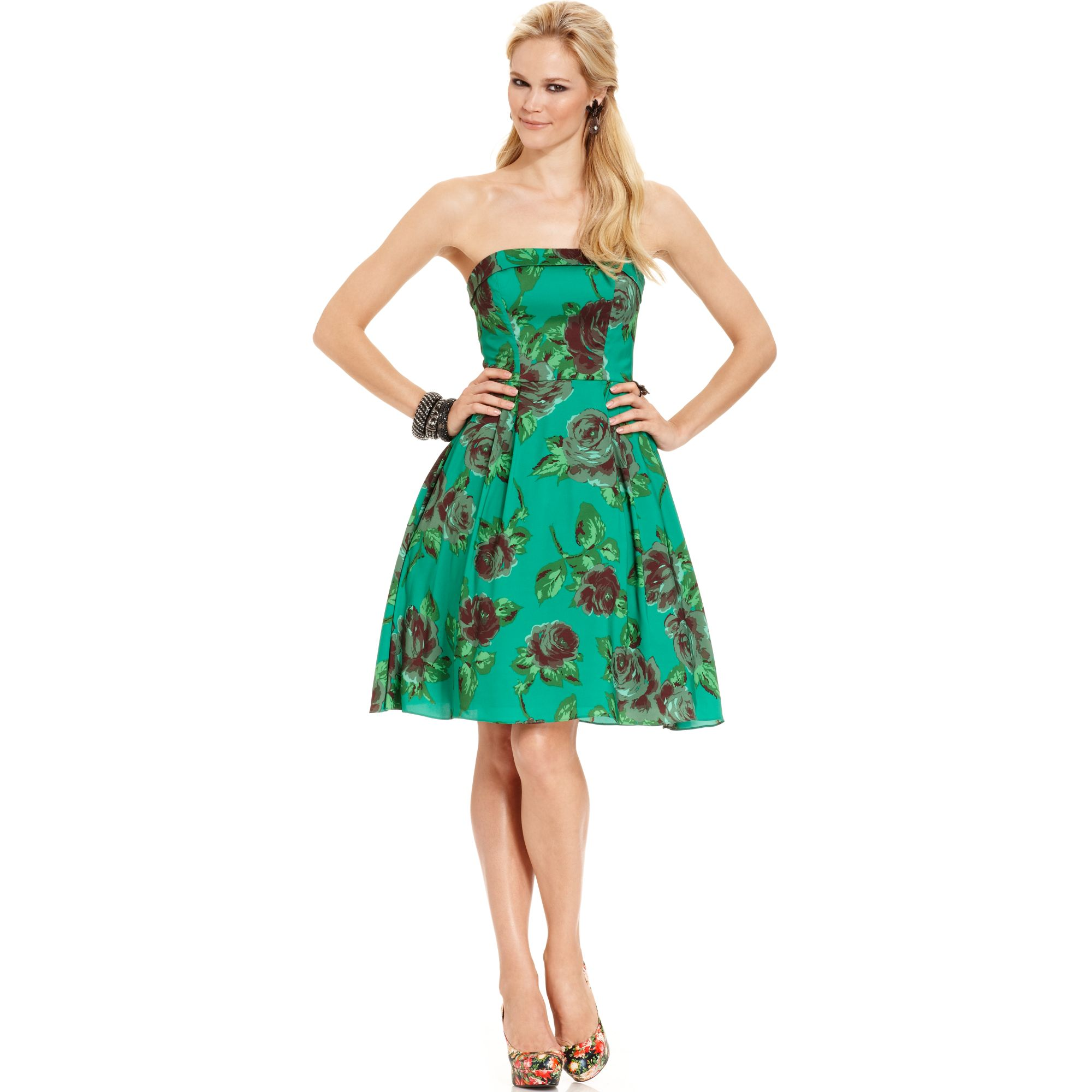 Betsey Johnson Strapless Floral Print A Line Dress In