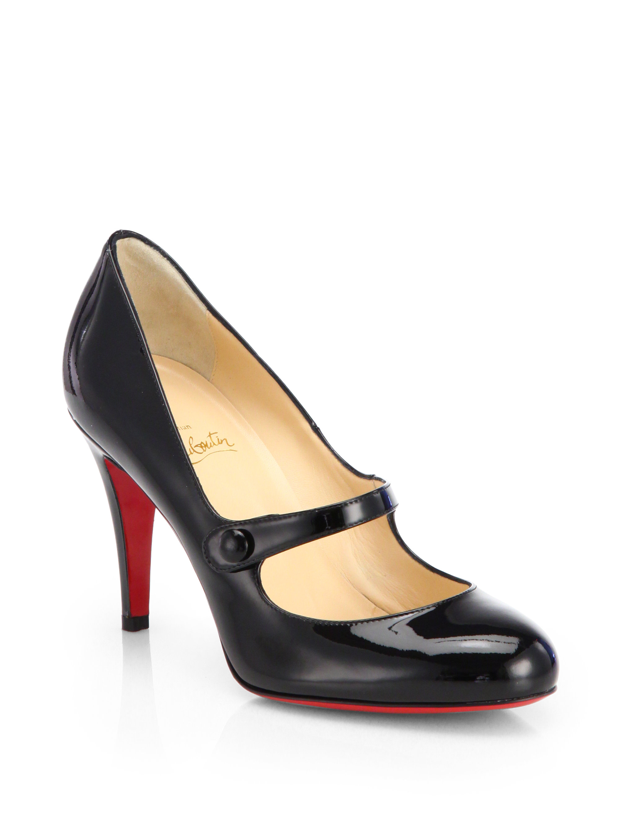 Christian Louboutin Leather Platform Mary Jane Pumps in
