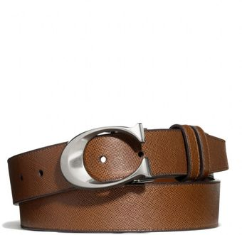Coach Sculpted C Cuttosize Reversible Dress Belt in Textured Leather - Lyst