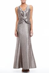 David Meister Sleeveless Long Jacquard Gown - Lyst