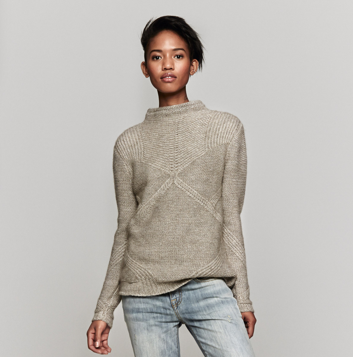 d012abc2 Helmut Lang Crop Sweater in Gray - Lyst