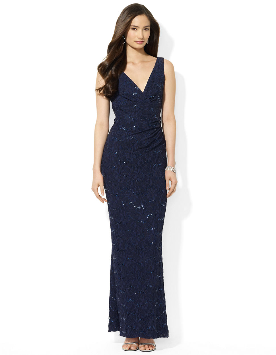 lauren by ralph lauren sequined lace vneck dress in blue