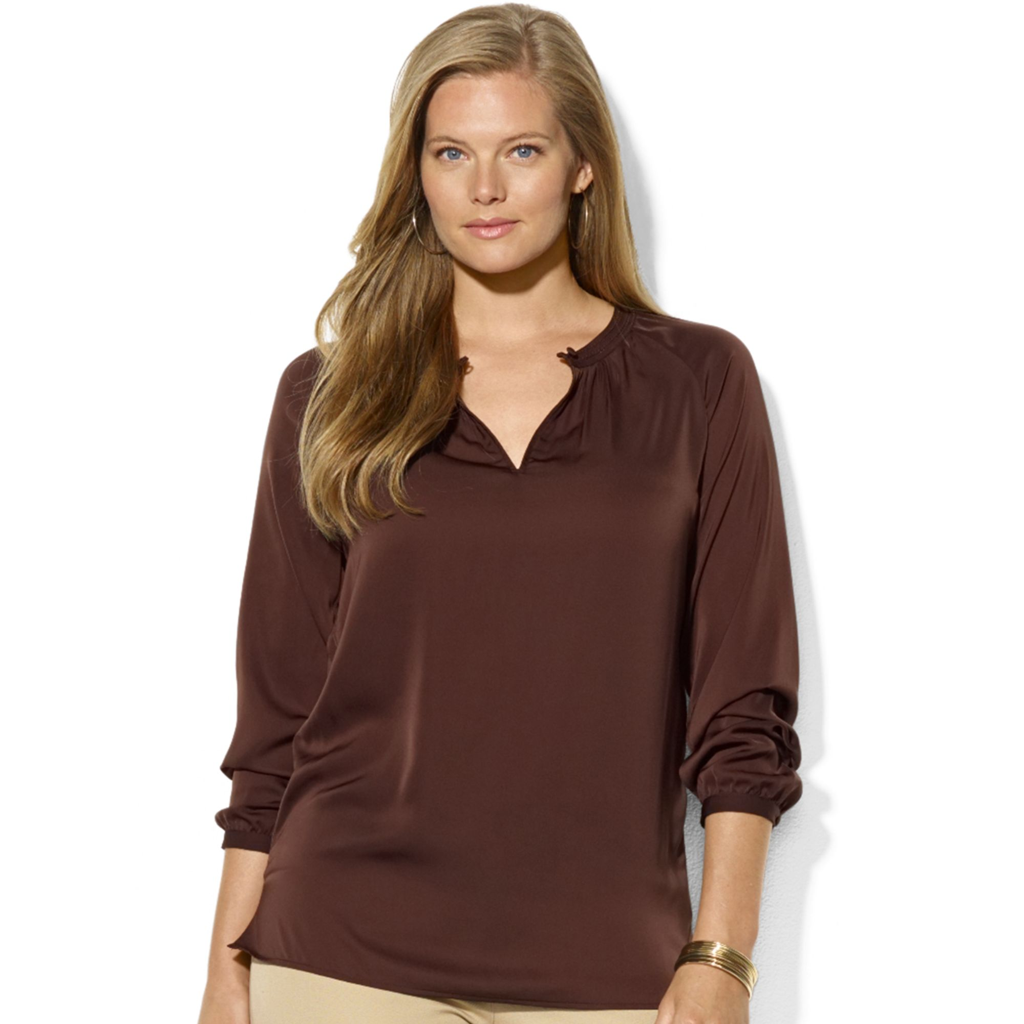Lauren By Ralph Lauren Plus Size Long-Sleeve Satin Blouse ...