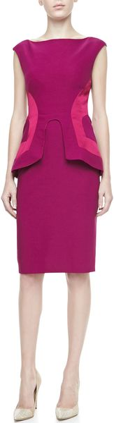 Lela Rose Side seamed Peplum Sheath Fuchsia - Lyst