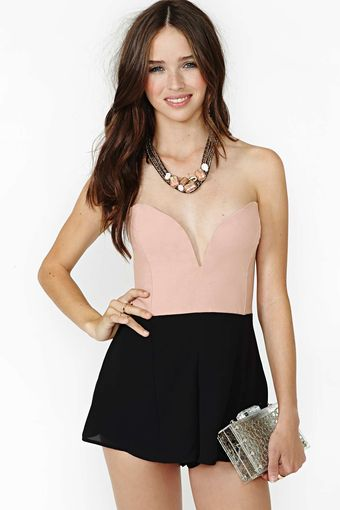 Nasty Gal Stolen Nights Romper Blush Black - Lyst