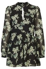 Topshop Floral High Neck Playsuit - Lyst
