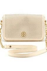 Tory Burch Robinson Perforated Convertible Chain Bag Ivory - Lyst