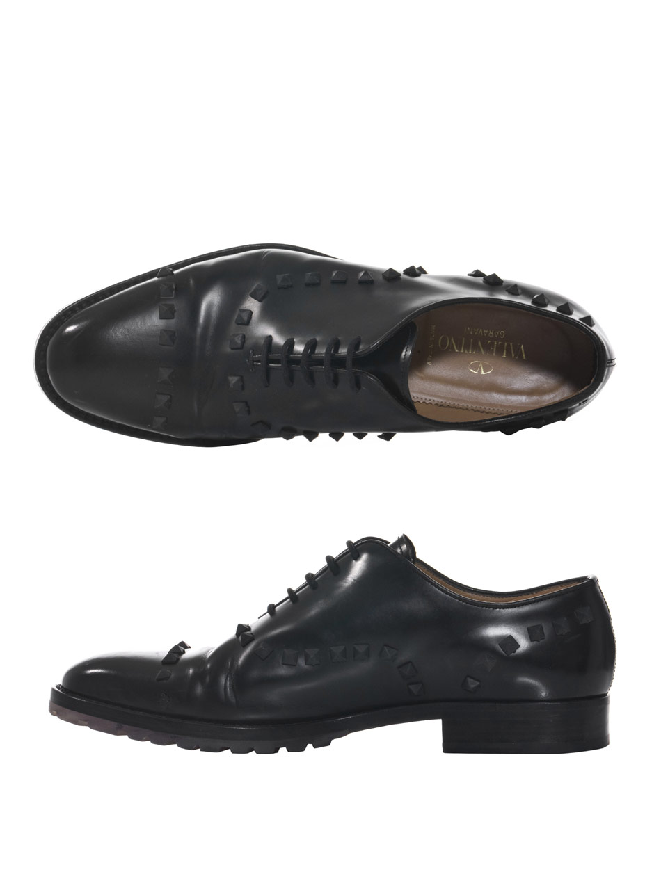 Lyst - Valentino Studded Laceup Oxford Shoes in Black for Men